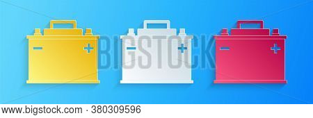 Paper Cut Car Battery Icon Isolated On Blue Background. Accumulator Battery Energy Power And Electri