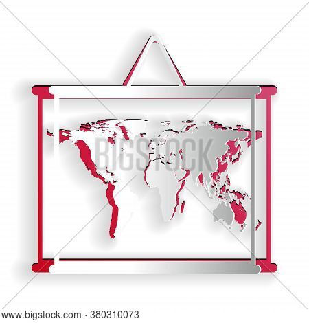 Paper Cut World Map On A School Blackboard Icon Isolated On White Background. Drawing Of Map On Chal
