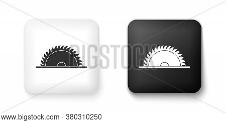 Black And White Circular Saw Blade Icon Isolated On White Background. Saw Wheel. Square Button. Vect