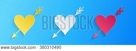 Paper Cut Amour Symbol With Heart And Arrow Icon Isolated On Blue Background. Love Sign. Valentines