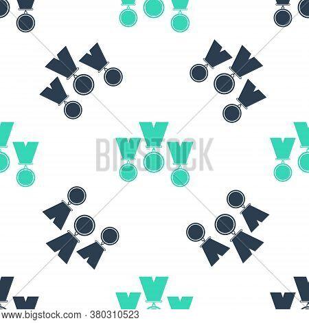 Green Medal Set Icon Isolated Seamless Pattern On White Background. Winner Simbol. Vector