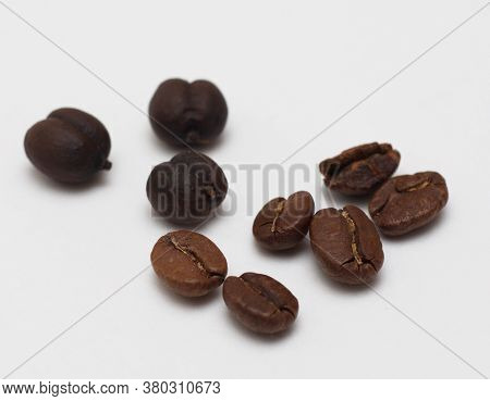 Isolated Coffee Beans At White Backdrop. Morning Taste. Flavor For Wake Up. Energy Drink. Make Your