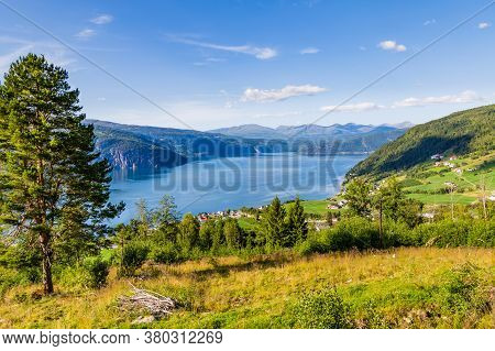 Landscape With Scenic View On Small Village Utvik And Nordfjord In Norway, Nordfjord Offers One Of T