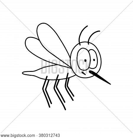 Outline Mosquito. Hand Drawn Illustration For World Mosquito Day In August 20.