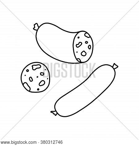 Outline Salami. Vector Illustration On The Theme Of National Salami Day On September 7.