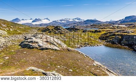Panoramic View Along National Scenic Route Sognefjellet Between Skjolden And Lorn In Sogn Og Fjordan