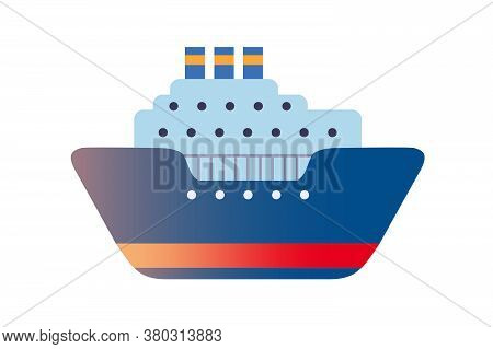 Sea Travel Transport Vector Illustration. Steamboat Cruise