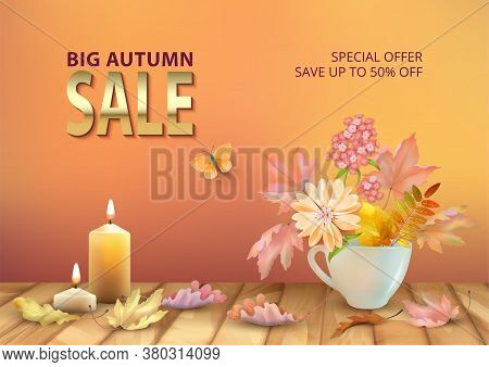 Autumn Sale Design. Autumn Background With Floral Bouquet In Teacup, Burning Candles And Fallen Leav