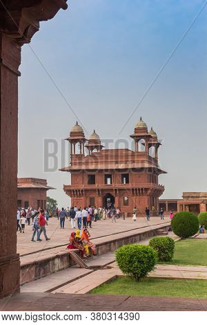 Agra, India - November 02, 2019: Historic Architecture Of The Fatehpur Sikri Ghost City In Agra, Ind