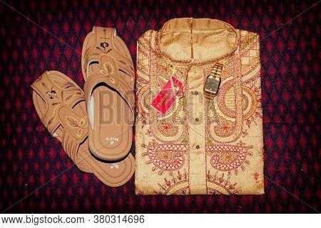 Bankura, West Bengal, India - January 30, 2019: Traditional Dress For Indian Hindu Bengali Groom