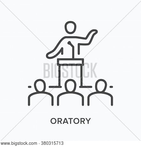 Public Speaker Flat Line Icon. Vector Outline Illustration Of Person Giving Presentation Speech On T
