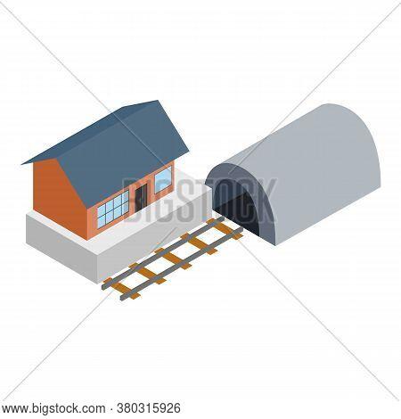 Railroad Concept Icon. Isometric Illustration Of Railroad Concept Vector Icon For Web