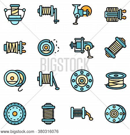 Fishing Reel Icons Set. Outline Set Of Fishing Reel Vector Icons Thin Line Color Flat On White