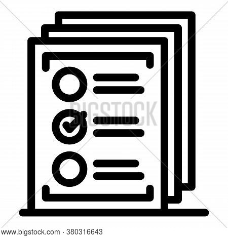 Checklist Paper Icon. Outline Checklist Paper Vector Icon For Web Design Isolated On White Backgroun