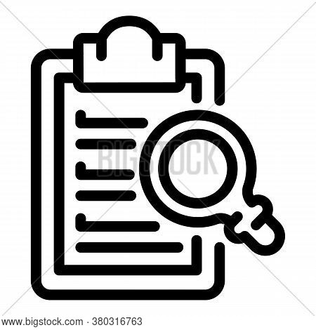 Inspect Clipboard Icon. Outline Inspect Clipboard Vector Icon For Web Design Isolated On White Backg