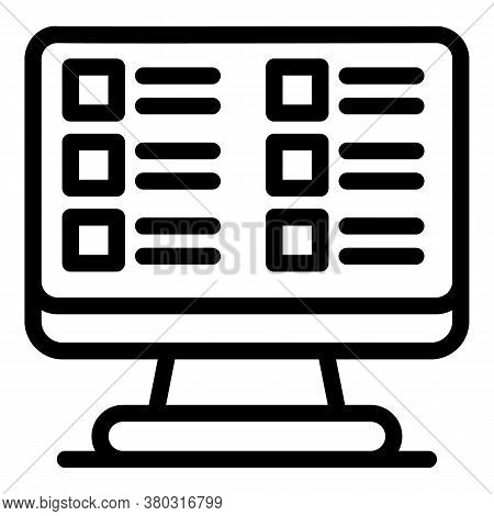 Monitor Checklist Icon. Outline Monitor Checklist Vector Icon For Web Design Isolated On White Backg