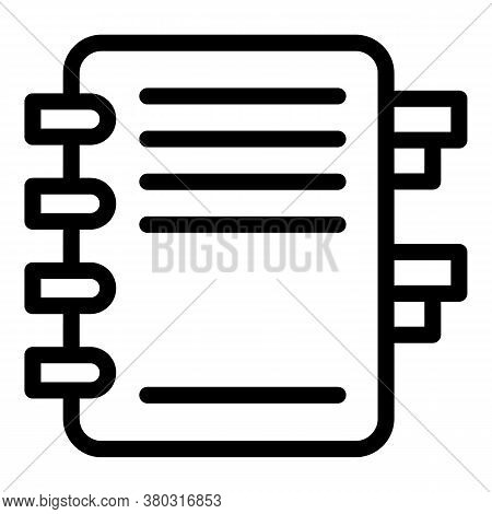 Agenda Book Icon. Outline Agenda Book Vector Icon For Web Design Isolated On White Background