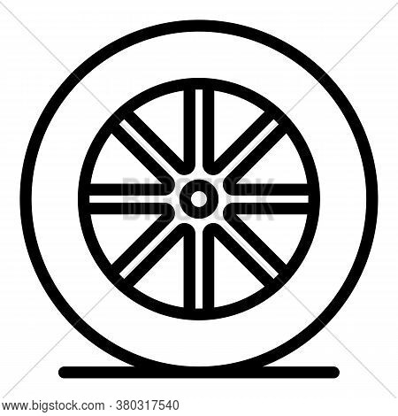 Car Wheel Icon. Outline Car Wheel Vector Icon For Web Design Isolated On White Background