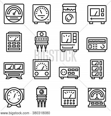 Voltage Regulator Icons Set. Outline Set Of Voltage Regulator Vector Icons For Web Design Isolated O