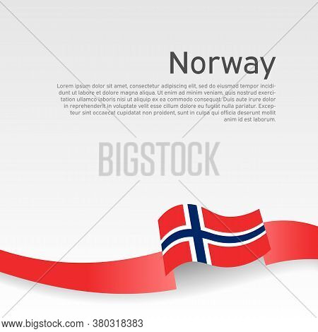 Norway Flag Background. Flag Of Norway With Wavy Ribbon On A White Background. National Poster Desig
