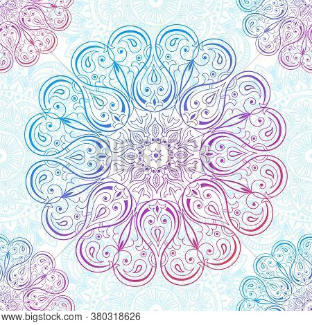 Ornamental Seamless Pattern With Mandala. Vintage, Paisley Elements. Ornament. Traditional, Ethnic,
