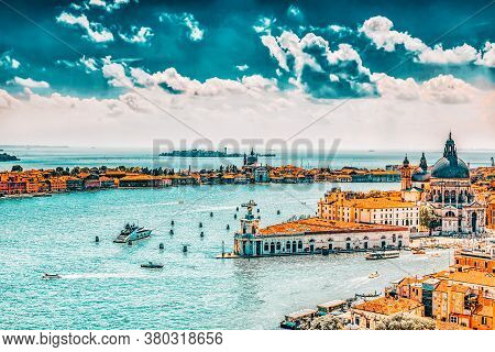 Panoramic View Of Venice From The Campanile Tower Of St. Mark's Cathedral.temple San Giorgio Maggior