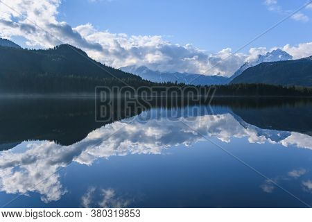 Beautiful Blue Lake With Surrounding Mountains Reflecting Back