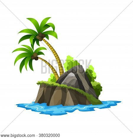 Tropical Island. Tropical Coast With Palm Trees And Sea Waves. Summer Landscape Of The Tropical Isla