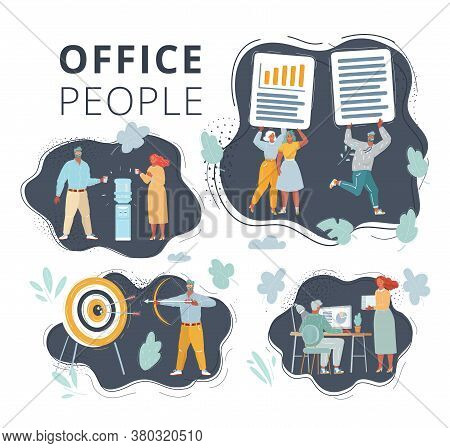 Vector Illustration Of People On Dark Background Set. Office Team Working At Workspaces. Work With F