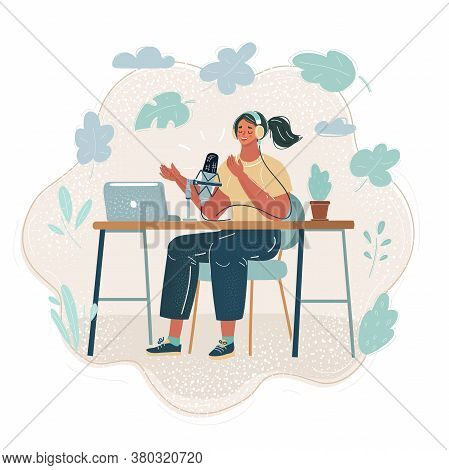 Vector Illustration Of Woman Recording Content For Her Lifestyle Blog Vlog, Modern Businesswoman Usi