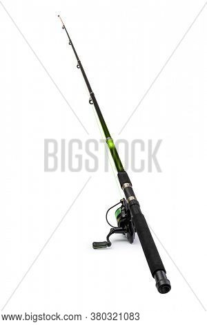 Spinning rod for fishing isolated on white background