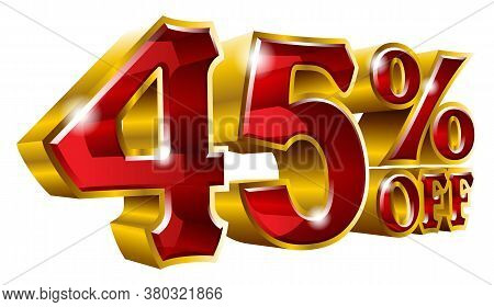 45% Off - Forty Five Percent Off Discount Gold And Red Sign. Vector Illustration. Special Offer 45 %