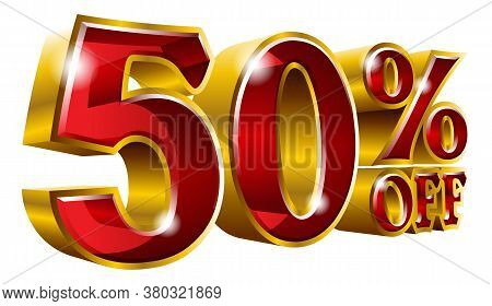 50% Off - Fifty Percent Off Discount Gold And Red Sign. Vector Illustration. Special Offer 50 % Off