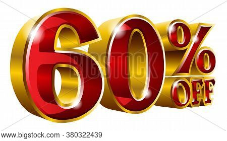 60% Off - Sixty Percent Off Discount Gold And Red Sign. Vector Illustration. Special Offer 60 % Off