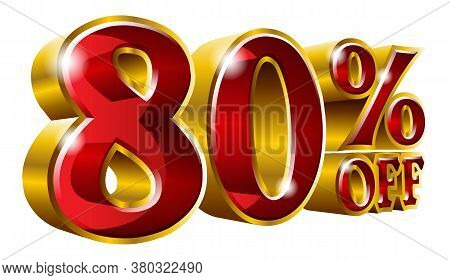 80% Off - Eighty Percent Off Discount Gold And Red Sign. Vector Illustration. Special Offer 80 % Off