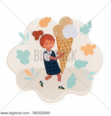 Cartoon Illustration Of Summer Girl Eating Icecream.