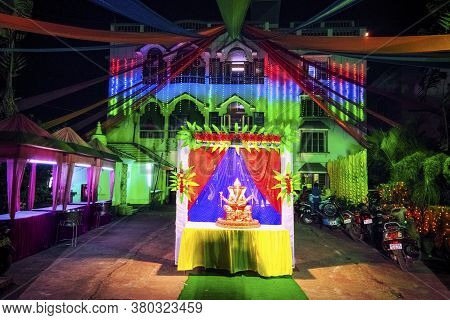 Bankura, West Bengal, India - March 14, 2019: Wedding Banquet Decoration In Tender Color