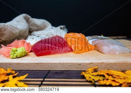 Japanese food fresh raw fish mixed sashimi