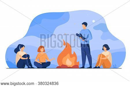 Campfire, Camping, Story Telling Concept. Cheerful People Sitting At Fire, Telling Scary Stories, Ha