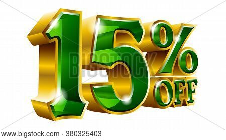 15% Off - Fifteen Percent Off Discount Gold And Green Sign. Vector Illustration. Special Offer 15 %