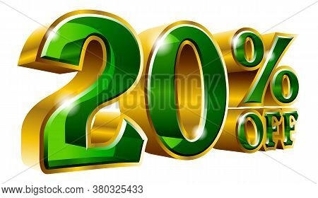 20% Off - Twenty Percent Off Discount Gold And Green Sign. Vector Illustration. Special Offer 20 % O