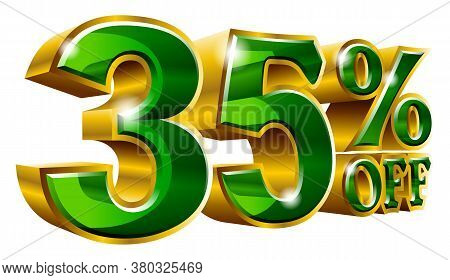 35% Off - Thirty Five Percent Off Discount Gold And Green Sign. Vector Illustration. Special Offer 3