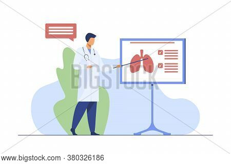 Medical Specialist Giving Information About Lungs. Physician, Lecture, Respiration Flat Vector Illus