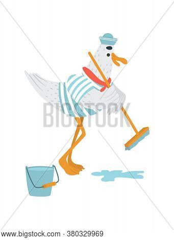 Funny Vector Sailor Seagull With Mop Cleans A Ship. Bird In Striped T-shirt And Dixie With Red Necke