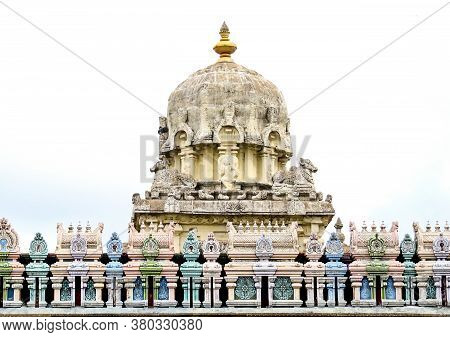 Dome And Roof Of An Ancient Indian Temple Of Shiva 10th Century Decorated With Colored Turrets And F