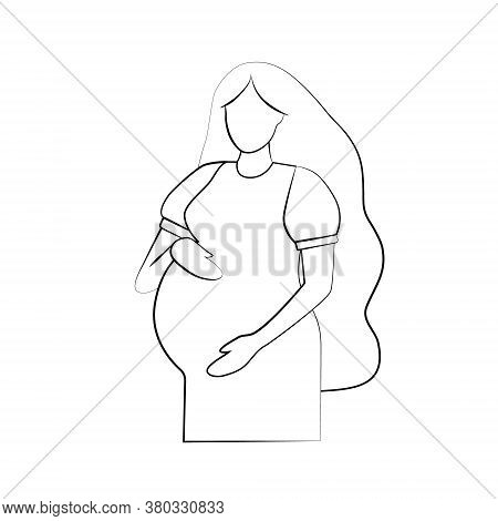 Silhouette Of A Pregnant Woman. Pregnancy And Maternity Icon. Simple Black Outline On A White Backgr