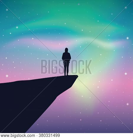 Girl On A Cliff Looks In The Colorful Starry Sky With Aurora Borealis Vector Illustration Eps10