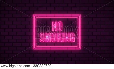 Warning No Swimming Neon Sign Fluorescent Light Glowing On Signboard Background. Signs By Neon Light