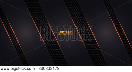 Dark Hexagonal Carbon Fiber Background With Orange Luminous Lines And Highlights. Technology, Sport,