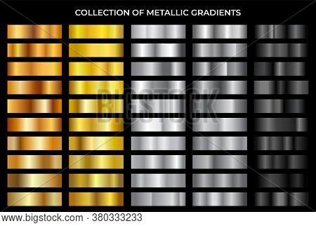 Gold, Bronze, Silver And Black Texture Gradation Background Set. Vector Metallic Gradients. Elegant,